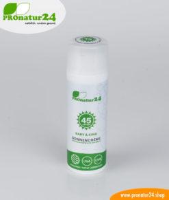 SPF 45 sun cream – BABIES and CHILDREN. Mineral sun protection, BIO ingredients, UVA, UVB, waterproof. NO MICROPLASTICS, NO ALLERGENS