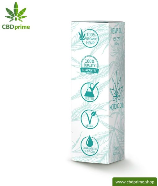 CBD HEMP OIL cannabis plant with 15% CBD content. Without THC. Organic and vegan produced by Nordic Oil.