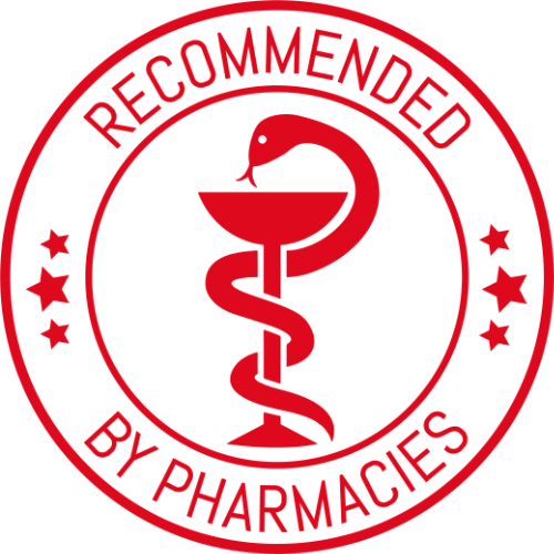 Recommended by pharmacies sign